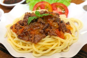 Spaghetti with beef recipe sauce