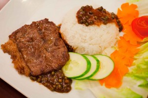 Rice beef with black pepper sauce