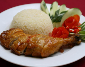 Rice with roasted chicken drumstick