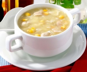 Chicken soup with corn cream