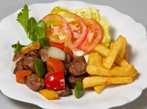 Beef rattles with french fries